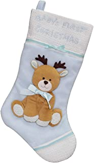 New Traditions Blue Baby's First Christmas Stocking - 16 inch Holiday Stocking with Festive 3D Plush Reindeer