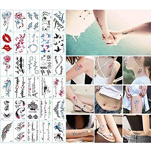 Tatouages temporaires pour adultes hommes femmes enfants (30 feuilles), tatouage temporaire imperméable Faux tatouages Body Art Faux tatouages