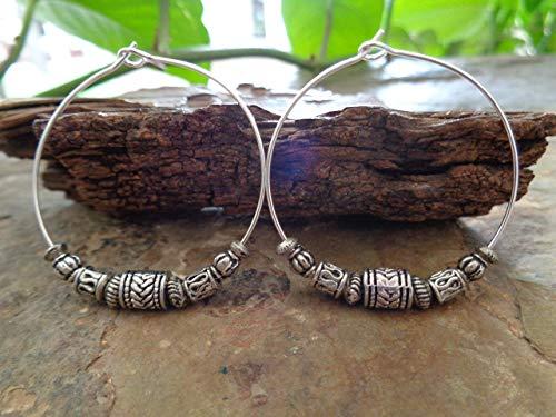 TIBET PLATA BOHO TRIBAL CREOL  Pendientes de estilo Bali