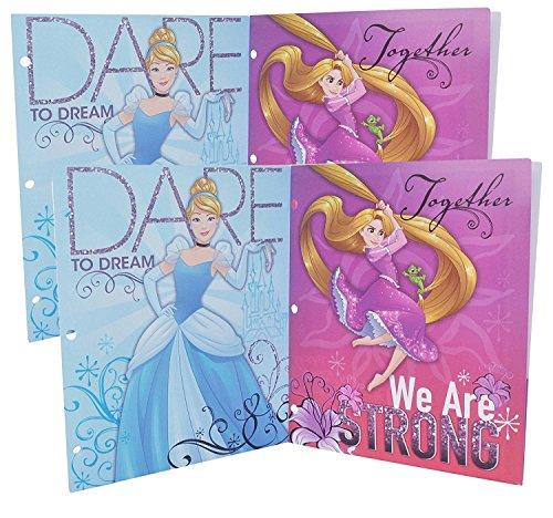 4 Packs Disney Princess 3-Ring Binder Portfolio Poly Plastic Folders with Pockets (Blue Lavender (Cinderella Rapunzel))