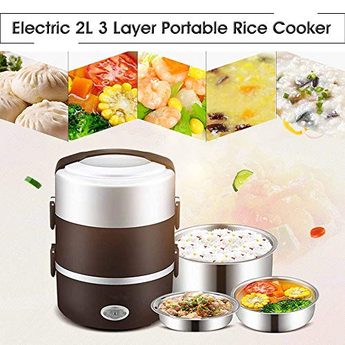 Find Bargain NBCDY 2l 3 Layer Portable Lunch Box, Mini Electric Rice Cooker, Steamer Meal Thermal, A...