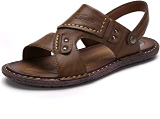 Shangruiqi Summer Outdoor Sandals for Men Beach Water Slipper Slip on Synthetic Leather Ankle Strap Open Toe Quick Dry Anti-Skid (Color : Khaki, Size : 8 UK)