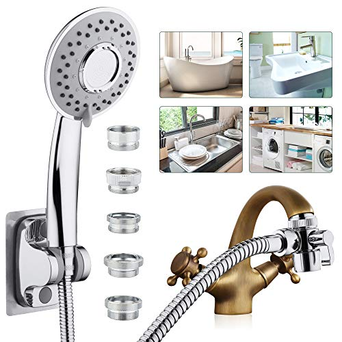 Sink Faucet Sprayer Rinser Set, Faucet Hose Shower Quick Connect on Kitchen Bathroom Faucet Bath Tub Spout, w/ 5 Feet Shower Hose for Easy Hair Washing Dog Baby Bathe
