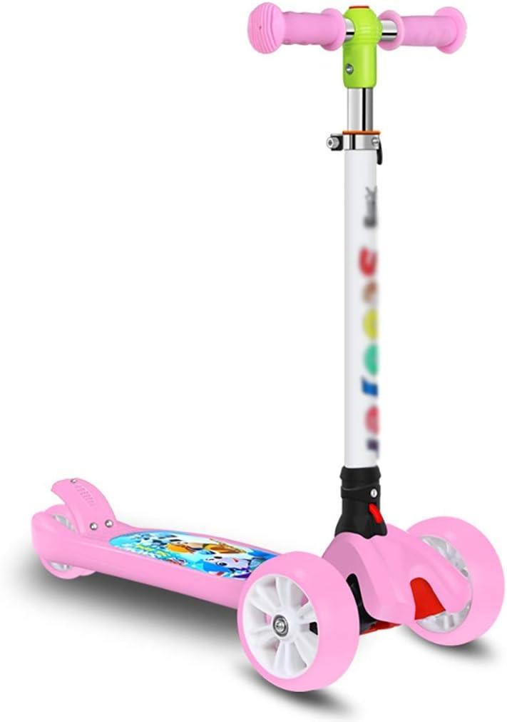 LLRZ Patinete 3 Ruedas Scooter para Niños Scooter 3-12 Años Plegable Y 4 Manillar Ajustable con Wheels Flash Boys Girls Gifts Scooter para Niños (Color : Pink)