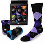 Mens Dress Socks Argyle Cotton Assorted Color 6-Pack By DEBRA WEITZNER Bright Argyle Prints 10-13