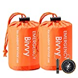 Esky Emergency Sleeping Bag, 2 Packs Ultra Waterproof Lightweight Thermal Bivy Sack, Survival Shelter Blanket Bags with Compass and Loud Survival Whistle, Portable Sack for Camping, Hiking, Outdoor