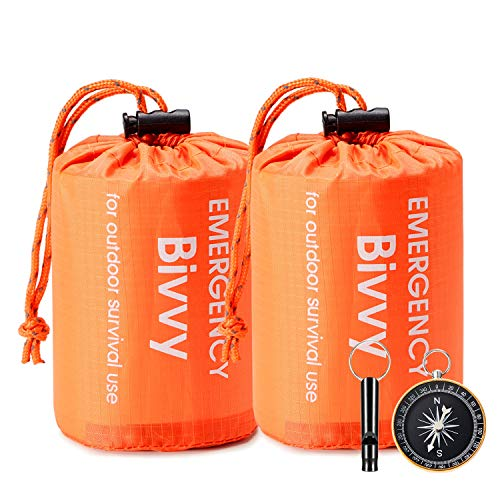 Esky Emergency Sleeping Bag, Waterproof Lightweight Thermal Bivy Sack, Survival Blanket Bags Portable Sack for Camping, Hiking, Outdoor(2 Pack)