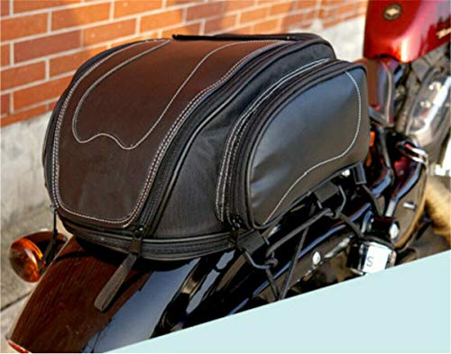 Universal Fine Lines, Double Stitched Black PU Leather Telescopic Motorcycle ATV Scooter Rear Back Seat Luggage Travel Tail Bag Box with Waterproof Rain Cover Toolkit Design Internal support Bezel