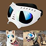 Namsan Dog Goggles Large Breed Dog UV Sunglasses Windproof Snowproof Dog Glasses for Long Snout Dogs, Soft Frame, Flexible Adjustable Straps, White