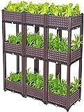 GXBCS Jardineras Huerto Urbano Kit de Jardinera de jardín Elevado de plástico apilable de 2 Niveles, Caja de jardinería, Camas de jardín elevadas para Vegetales/Flores/Hierbas 092(Size:80x40x1