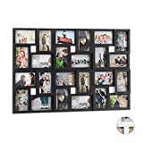 Relaxdays Marco de Fotos múltiple, 24 fotografías, 9 x 13, Formato Vertical o apaisado, Plástico, Negro, 57 x 86 cm