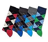 N / A Mehrfarbige Premium Herren Socken aus nachhaltig-, umweltfre&licher BIO-Baumwolle, antibakteriell, mit verstärkter Fersen- & Zehenpartie (41-45, 4-Pack | Karo | Rot, D.Blau, H.Grau, Grün)