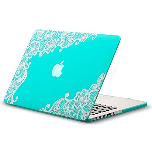 Kuzy - Lace Rubberized Hard Case for Older MacBook Pro 15.4 inch with Retina Display A1398 15 inch Plastic Shell Cover - Lace Teal
