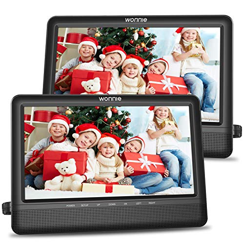 WONNIE 10.5'' Dual Screen DVD Player Portable Headrest CD Players for Kids with 2 Mounting Brackets Built-in 5 Hours Rechargeable Battery Great for Car Travel (1 Player+1 Monitor)