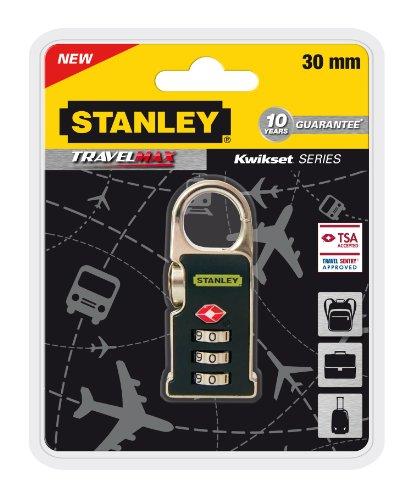 Stanley 81170393401 Lucchetto TSA in Zinco a 3 Cifre con Meccanismo a Clip, 30 mm, Nero