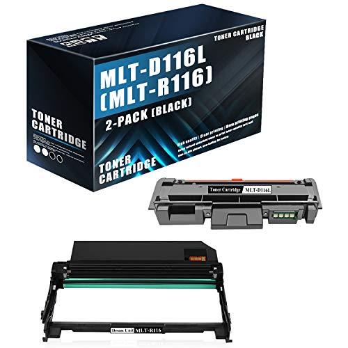 2-Pack Set,Black (1Drum+1Toner) Compatible MLT-R116 Drum Unit and MLT-D116L Toner Cartridge Replacement for Samsung Xpress M2825WN M2835 M2625 M2876HN M262x Printers,Sold by MonInk