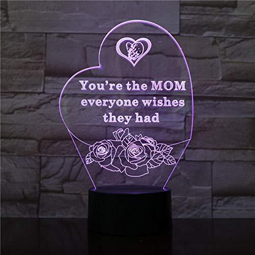 Lámpara de ilusión 3D Luz de noche LED Día de la madre Luz de cama LED Decoración del hogar con interruptor táctil mejor regalo para mamá Habitación infantil Niño niña Regalo Cumpleaños Vacaciones