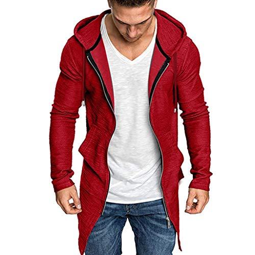Reooly Hombres cosidos con Capucha Color sólido Gabardina Chaqueta de Punto Abrigo de Manga Larga(Rojo,XX-Large)