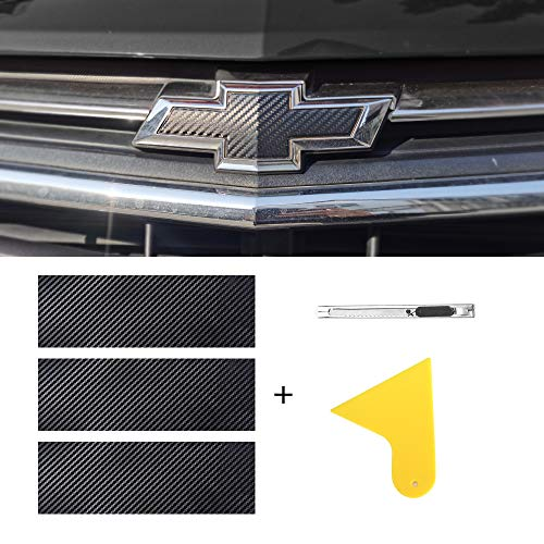 MICOOS Compatible with Carbon Fiber Vinyl Wrap 11.8' x 4' Chevy Bowtie Emblem Wrap Kit with Spatula and Cutter 3 Pcs Universal Logo Overlay (Black)