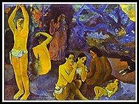 番号キットでペイント - 油絵 数字キット塗り絵 大人 子ども 塗り絵 DIY絵 デジタル油絵 手塗り 数字キットによる絵画 ホームデコレーション - Where Do We come from by Paul Gauguin Paintin