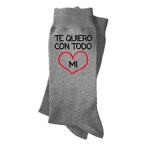Calcetines hombre con mensaje: Te quiero con todo mi corazón.