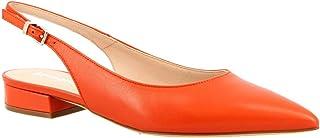 Leonardo Shoes Ballerine Slingback a Punta da Donna Fatte a Mano in Pelle di Vitello Arancione - Codice Modello: 138 Nappa...