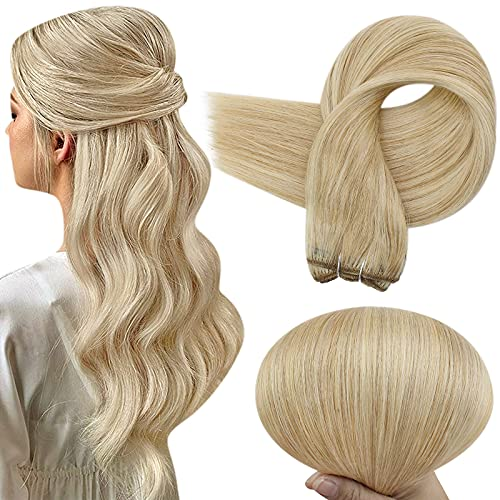 Full Shine Sew in Hair Extensions Human Hair 22 Inch Blonde Weft Hair Extensions Color 27 Honey Blonde Highlight 613 Bleach Blonde Weft Hair Bundles Extensions 100 Gram Real Remy Hair Weft