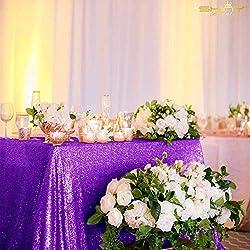 Purple Rectangular Sequin Tablecloth