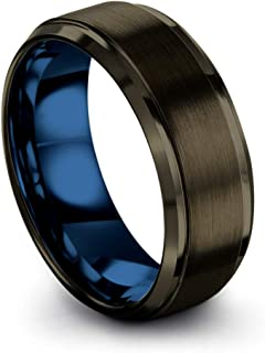 Tungsten Carbide Wedding Band Ring 8mm for Men Women Green Red Blue Purple Black Gunmetal Copper Fuchsia Teal Interior with Step Edge Brushed Polished