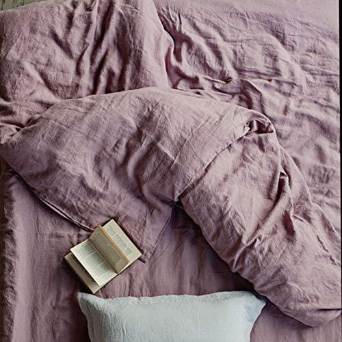 xuzheng Conjunto de 4 PRE Pieza Lavado 100% Natural Ropa de Cama Gris Juego de Cama púrpura 1 Cubierta de edredón + 2 pillowcasas + 1 Hoja de pie