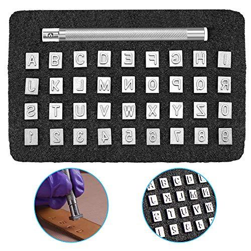 GOLRISEN 37 Stücke Leder Stempel Alphabet A bis Z Stanzwerkzeuge 3mm Zahlenstempel 0-9 Prägestempel 6.5 mm Buchstaben Stempel Bastelstempel Punzierstempel für Leder Prägen DIY Ton Leder Handwerk Druck