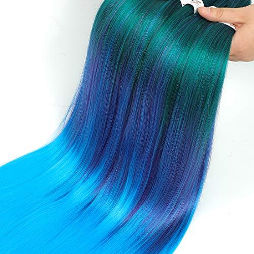 8Packs Pre-Stretched Braiding Hair Professional Juckreizfreie Kunstfaser Ombre Corchet Braids Yaki Texture Haarverlängerungen (26 Zoll, Grün/Lila/Blau <7>)