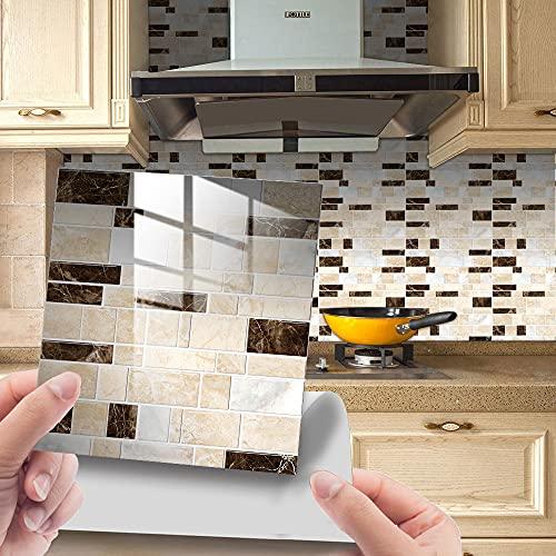 Hiser 25 Piezas Mosaico Adhesivos Azulejos Pegatinas para Baldosas del Baño/Cocina Impresión de Ladrillos - Mármol Resistente al Agua Pegatina de Pared (Marrón amarillento,15x15cm)