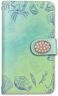 rafre/DIGNO W KYV40 手帳型 ケース カード ミラー スマホケース 携帯ケース 携帯カバー スマホカバー KYOCERA 京セラ ラフレ/ディグノ ダブル au SIMフリー vc-207-deco 貝殻 海 イラスト パール