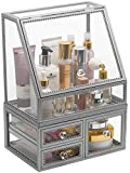 Sorbus Makeup Organizer Countertop Acrylic, 2-Piece Stackable Design Make Up Cosmetics Storage Stand with Drawers, For Cosmetics, Skincare, Vanity, Bathroom Elegant Vintage Style (Silver)