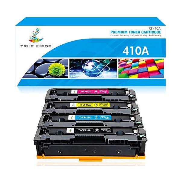 True Image Compatible Toner Cartridge Replacement for HP 410A CF410A CF411A CF412A CF413A Color Laserjet Pro MFP M477fnw M477fdw M477fdn M452dn M452nw M477 Toner (Black Cyan Yellow Magenta, 4-Pack)