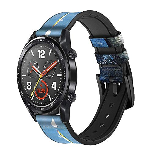 Innovedesire Bass Fishing Correa de Reloj Inteligente de Cuero para Wristwatch Smartwatch Smart Watch Tamaño (18mm)