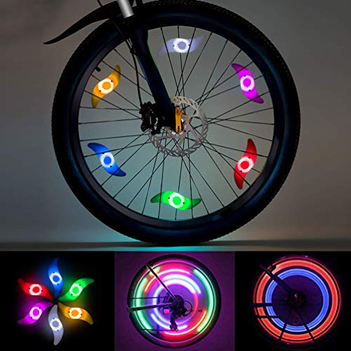 LEDGLE LED Radlichter, Speichenlicht Rad Speichen Fahrrad für Mountainbike Hybrid Bike Erwachsene und Kinder, LED wasserdichte Neon Reifenlampe mit 3 Modi, 6er