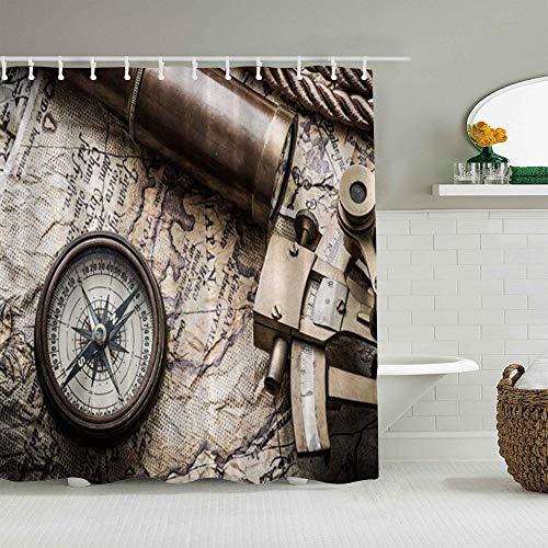 PbbrTK Cortina de baño Repelente al Agua,Mundo Antiguo Vintage Bodegón con brújula y Antiguo telescopio de Mapa,Cortinas de baño de poliéster de diseño 3D con 12 Ganchos,tamaño 180 x 180cm