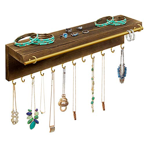 Fashion&cool Hanging Jewelry Organizer, Wood Wall Mounted Jewelry Holder with Shelf and Removable Metal Bracelet Rod, 12 Necklace Hooks, Perfect Display Perfume, Earrings, Necklace and Bracelets