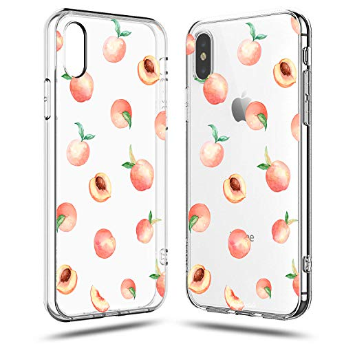 iPhone XR Case,Lovely Fresh Girls Pink Cute Peach Funny Fruits Vacation Colorful Hipster Aloha Summer Tropical Hawaii Beach Sweet Women Girly Soft Clear Case Compatible for iPhone XR