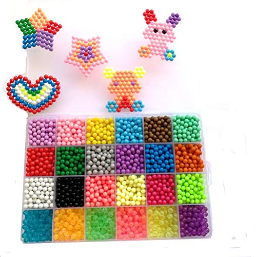 Vytung Water Fuse Bead 3600 Beads 24 Colors(6 Glow in Dark) Sticky Beads Art Crafts Toys for Kids Beginners(24 Color Complete Pack)