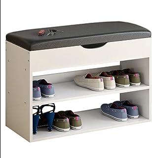 Étagère à Chaussures Étagère à Chaussures Simple Home Faux Cuir Top Banc à Chaussures Banc Long pour Les Chaussures d'entr...