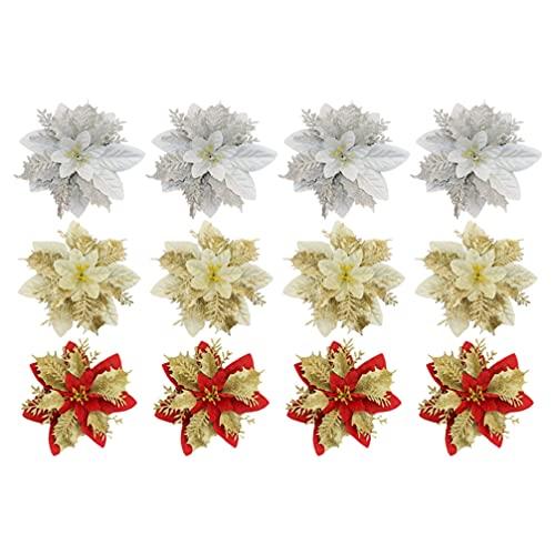 BESTonZON 12 Pezzi di Natale Poinsettia Decorazioni Glitter Artificiale Fiori di Natale per Albero di Natale Ornamenti 5. 5 Pollici (Multicolore)