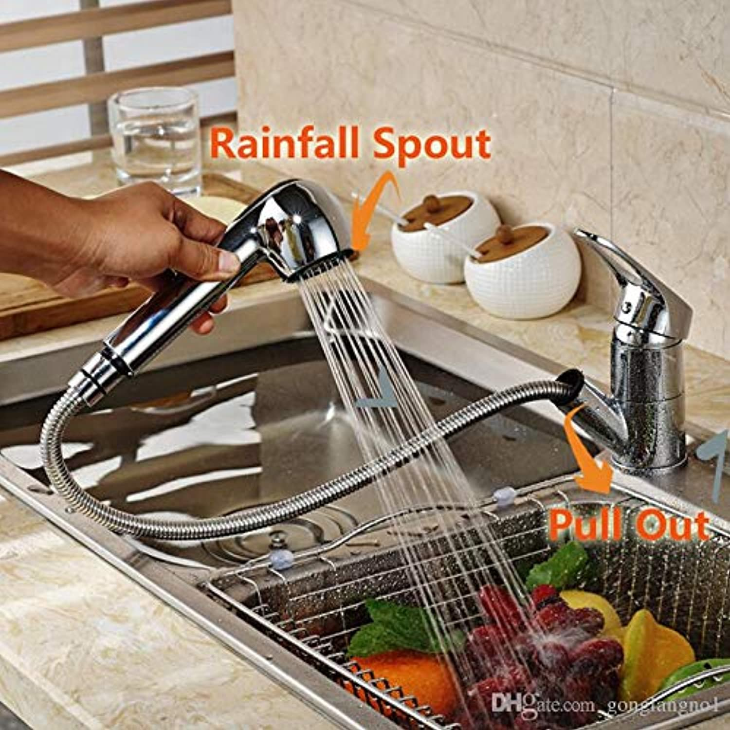 Decorry Luxury Pull Out Kitchen Faucet Deck Mount Kitchen Faucets with Hot and Cold Water Single Handle 1 Transactions