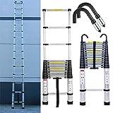 6.2m 20.4 Foot Aluminum Extension Foldable Telescopic Ladder & Attic Loft Roof Hook Kit Telescoping Ladder Extendable Capacity Max Load 150kg/330lb EN 131 Light-Weight 17kg( 36lbs)