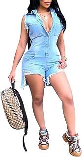 ECHOINE Women's Sexy Denim Jeans Jumpsuit Bodycon Shorts One Piece Outfits Rompers S XXL