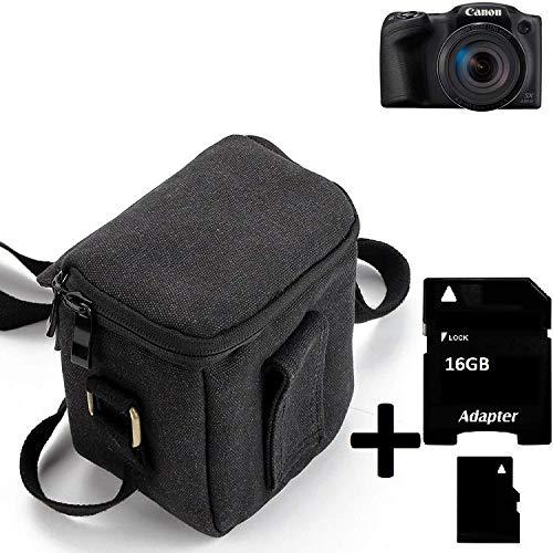 K-S-Trade® Para Canon PowerShot SX430 IS Cámara Bolsa Funda De Hombro Estuche Bolso Compacto Resisten A Los Golpes Protección, Negro + 16GB Tarjeta De Memoria
