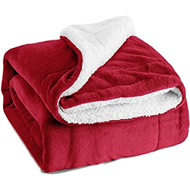 Bedsure Sherpa Throw Blanket Red 50 x60  Reversible Fuzzy Bed Throws Microfiber All Seasons Luxury Fluffy Blanket for Bed or Couch by