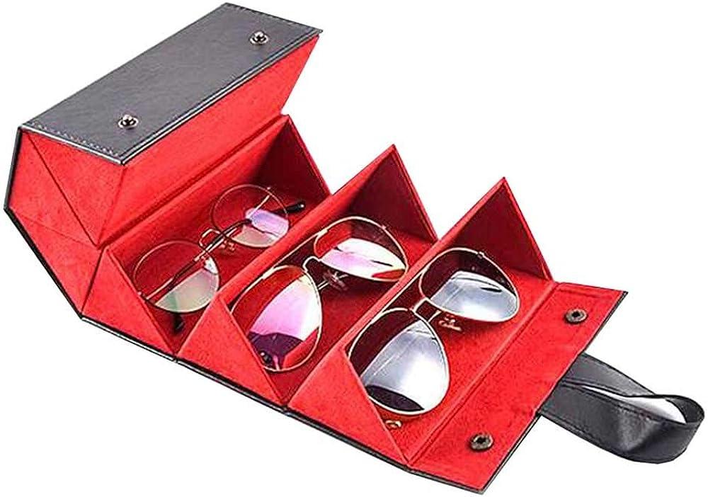 LOKOER 5 Slots Foldable Leather Eyewear Storage Box Display Sunglasses Eyeglasses Travel Organizer Case Multiple Hanging Container